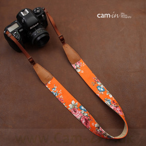 Denim, Blomstret, Orange, CAM7136